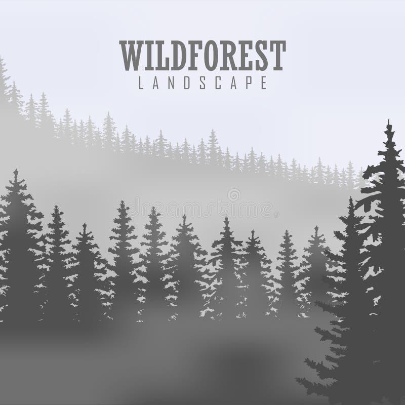 Árbol de pino, naturaleza del paisaje, panorama natural de madera Plantilla al aire libre del diseño que acampa Ilustración del v ilustración del vector