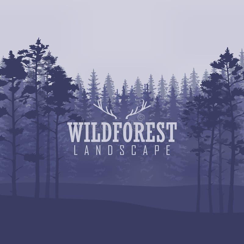 Árbol de pino, naturaleza del paisaje, panorama natural de madera Plantilla al aire libre del diseño que acampa Ilustración del v stock de ilustración