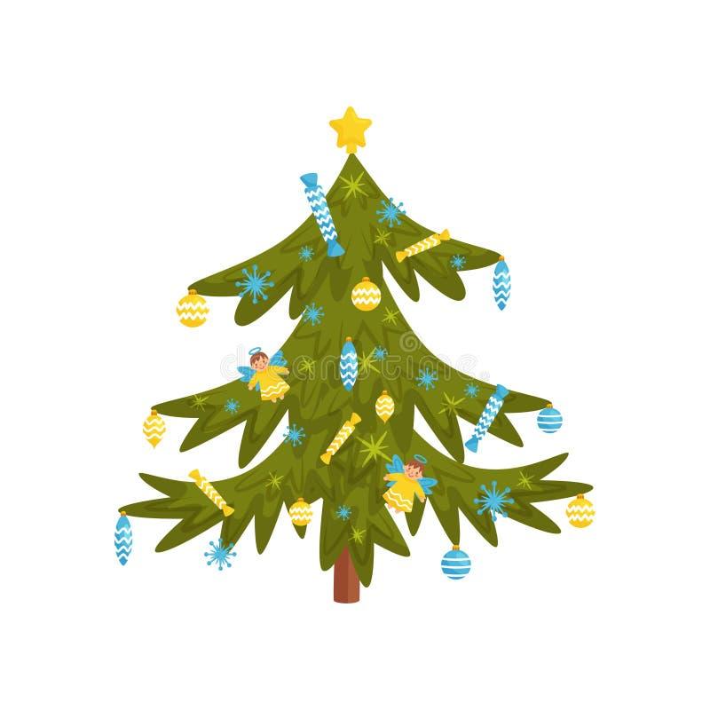 Árbol de pino verde adornado con los juguetes y los caramelos, estrella de oro en el top Elemento plano del vector para la bander ilustración del vector