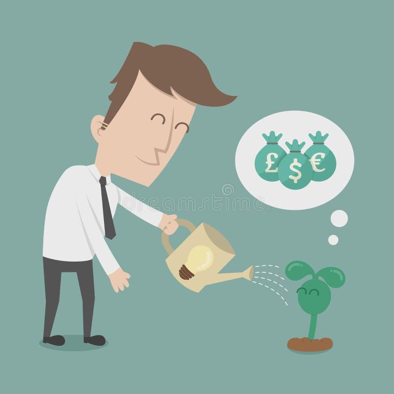Árbol de riego del dinero del hombre de negocios ilustración del vector