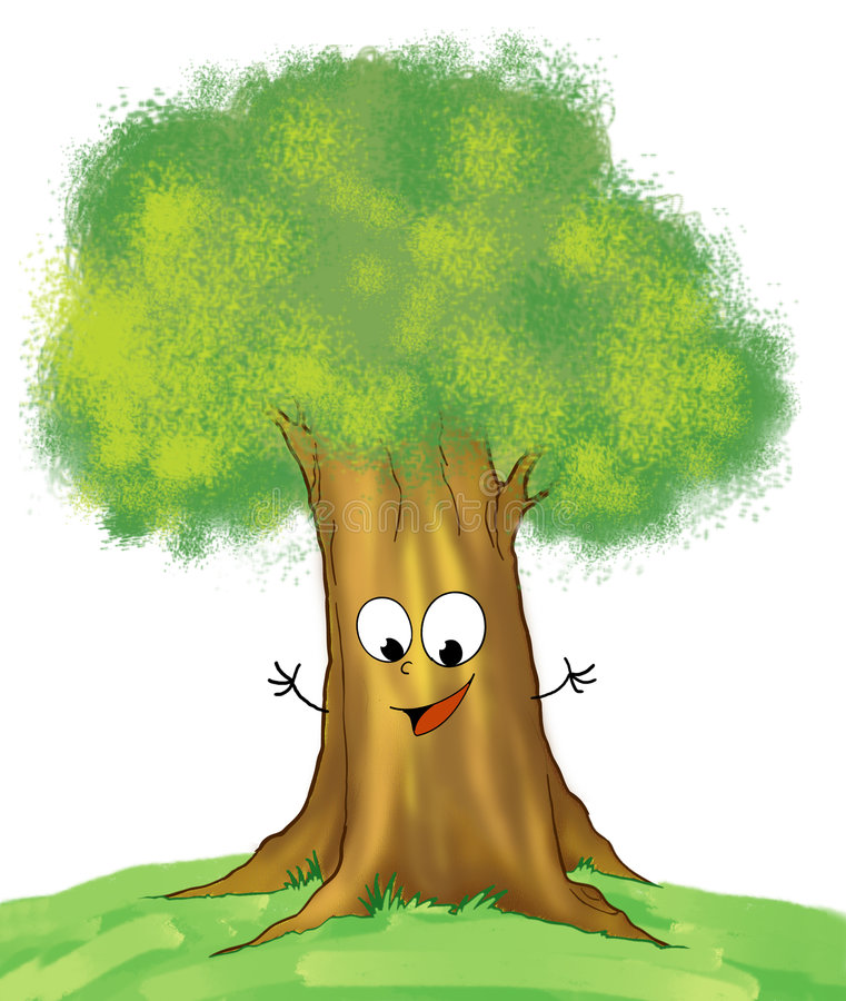 Árbol de roble sonriente libre illustration