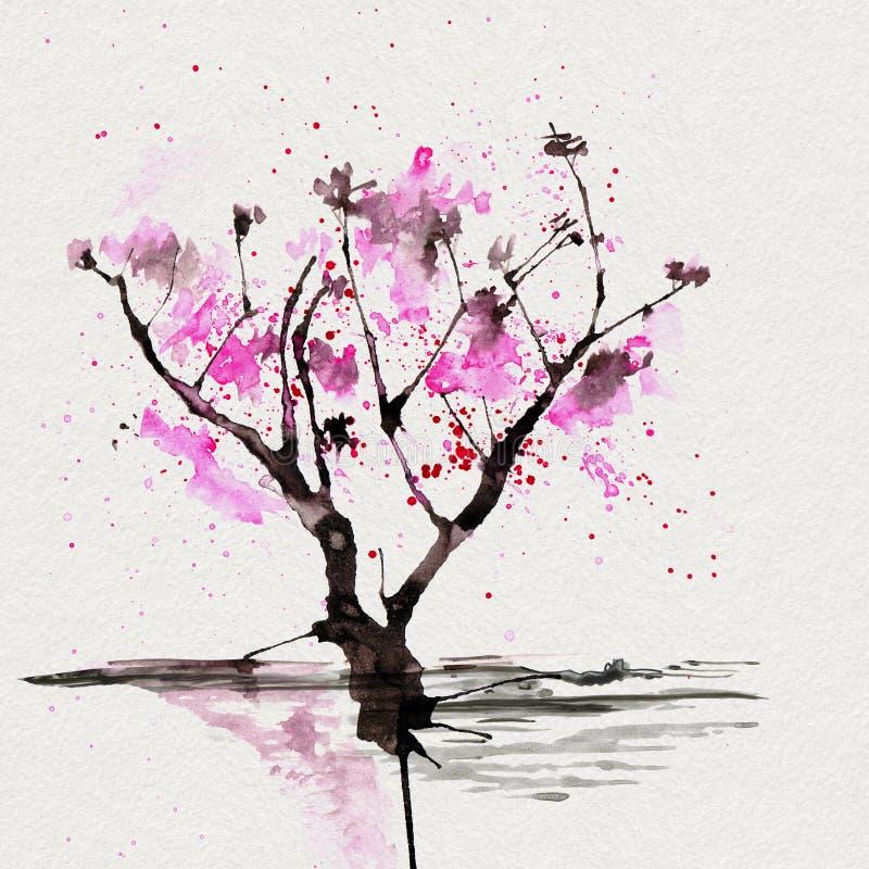 Árbol de Sakura en estilo japonés Ejemplo de la pintura de la mano de la acuarela ilustración del vector