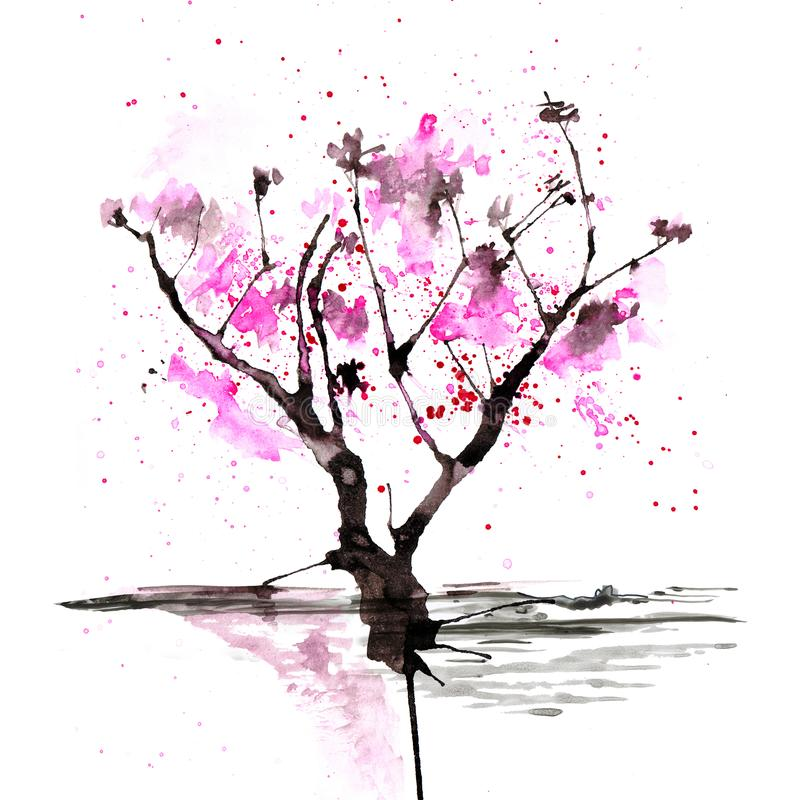 Árbol de Sakura en estilo japonés Ejemplo de la pintura de la mano de la acuarela stock de ilustración