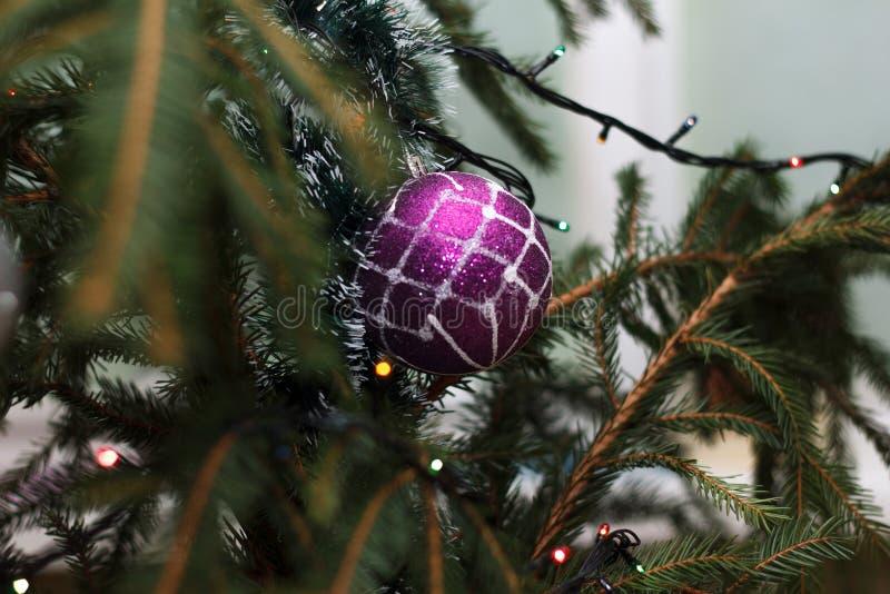 Árbol del Año Nuevo adornado con los juguetes fotos de archivo libres de regalías