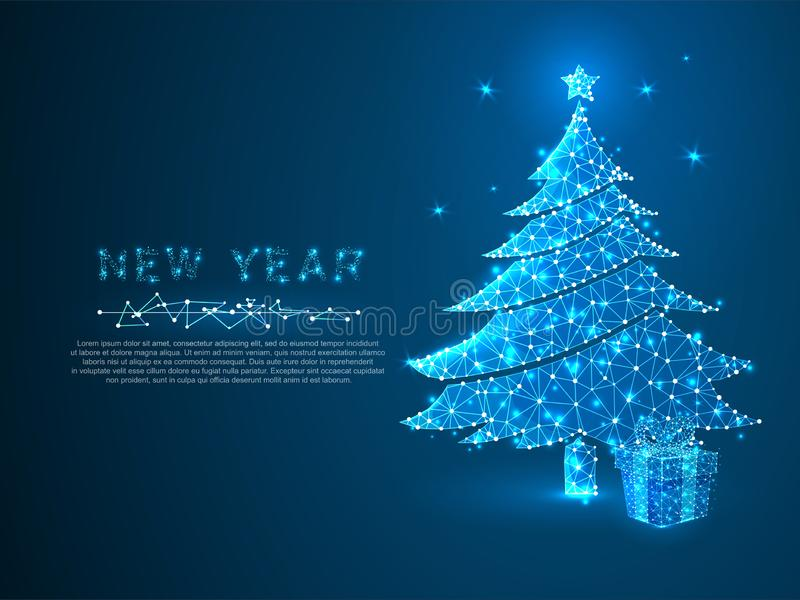 Árbol del Año Nuevo y red de conexión de la caja de regalo Concepto del wireframe del día de fiesta vector Bajo-polivinílico poli libre illustration