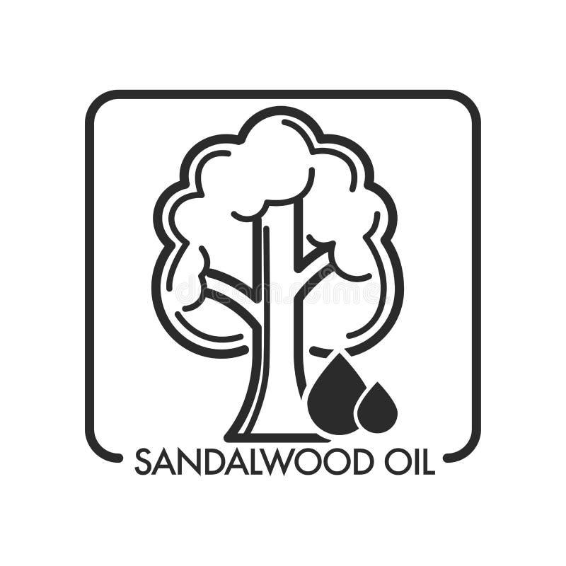 Árbol del aceite de sándalo y descenso del líquido aromático para los masajes ilustración del vector