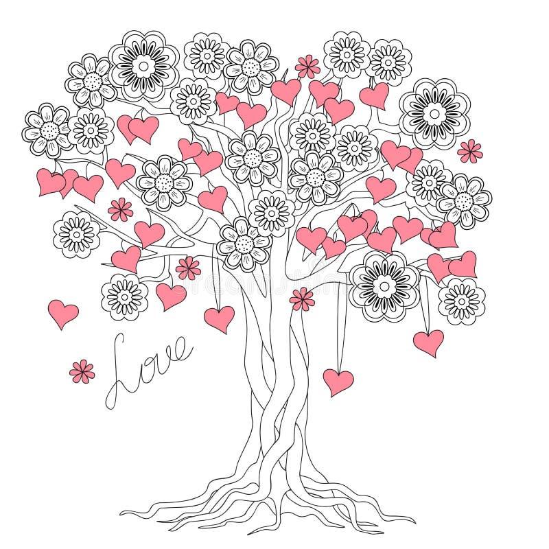 Árbol Del Amor Con Las Raíces Y Las Flores Ilustración del Vector ...
