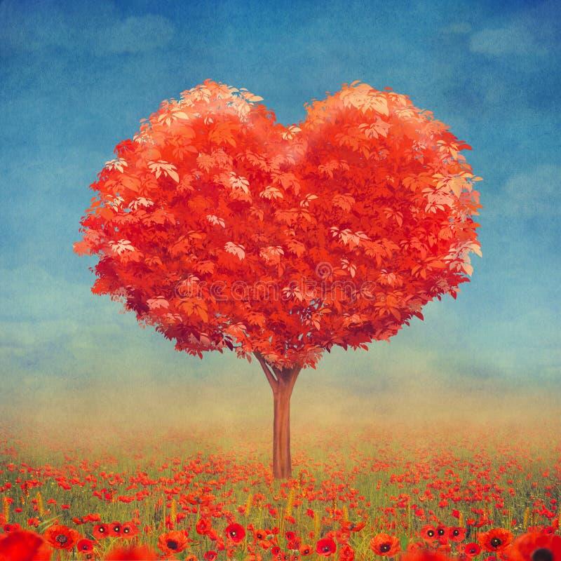 Árbol del amor en el campo, fondo del día de tarjetas del día de San Valentín stock de ilustración