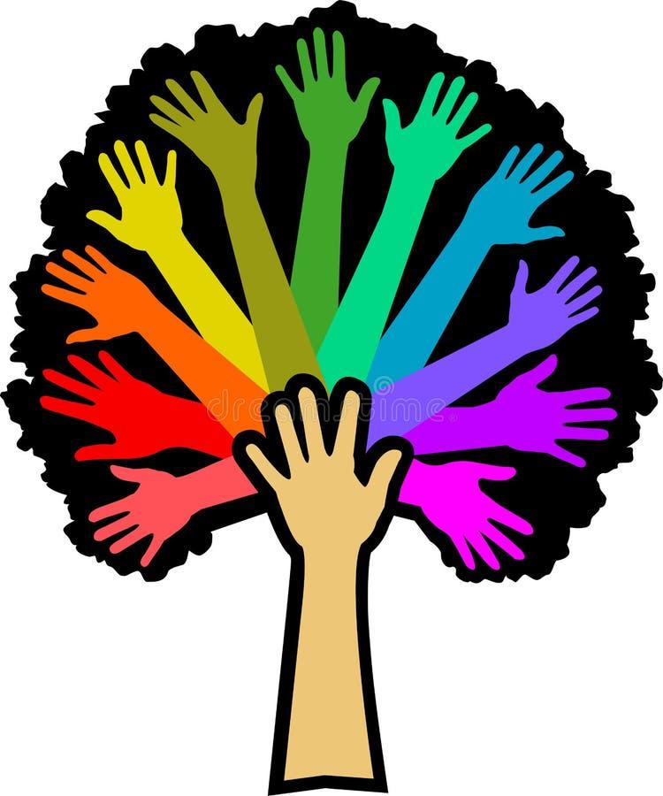 Árbol del arco iris de la diversidad ilustración del vector
