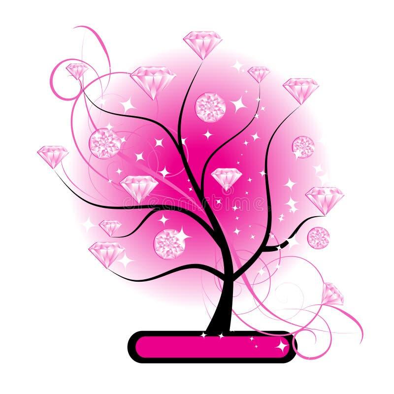 Árbol del arte con el color de rosa de los diamantes para su diseño libre illustration