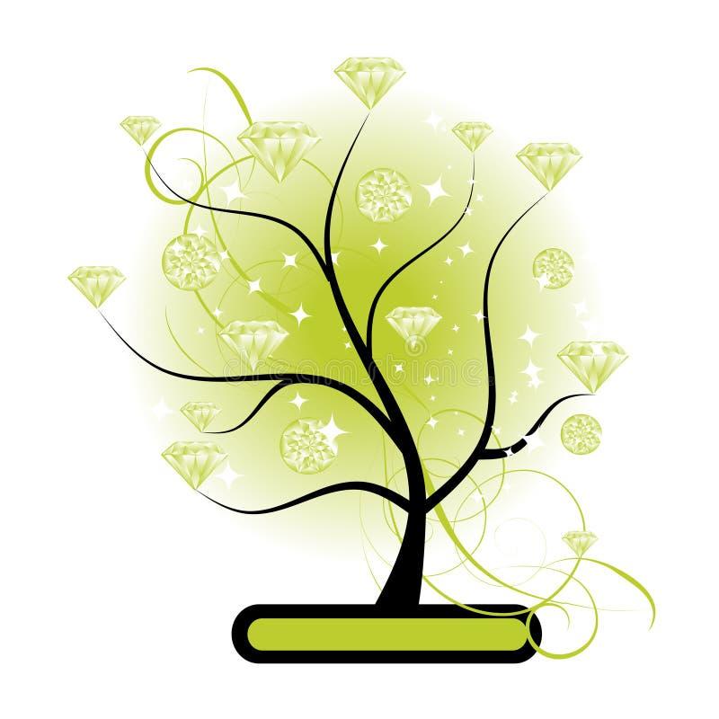 Árbol del arte con verde de los diamantes stock de ilustración