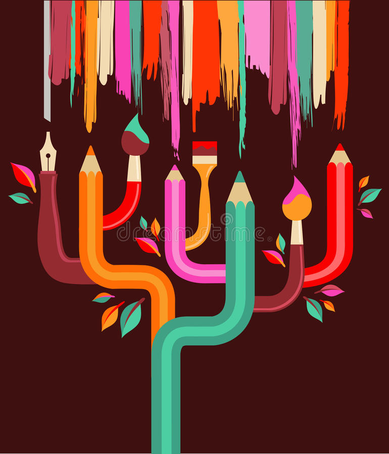 Árbol del arte y de la creación, ilustración del concepto ilustración del vector