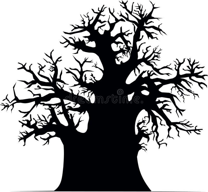 Árbol del baobab stock de ilustración