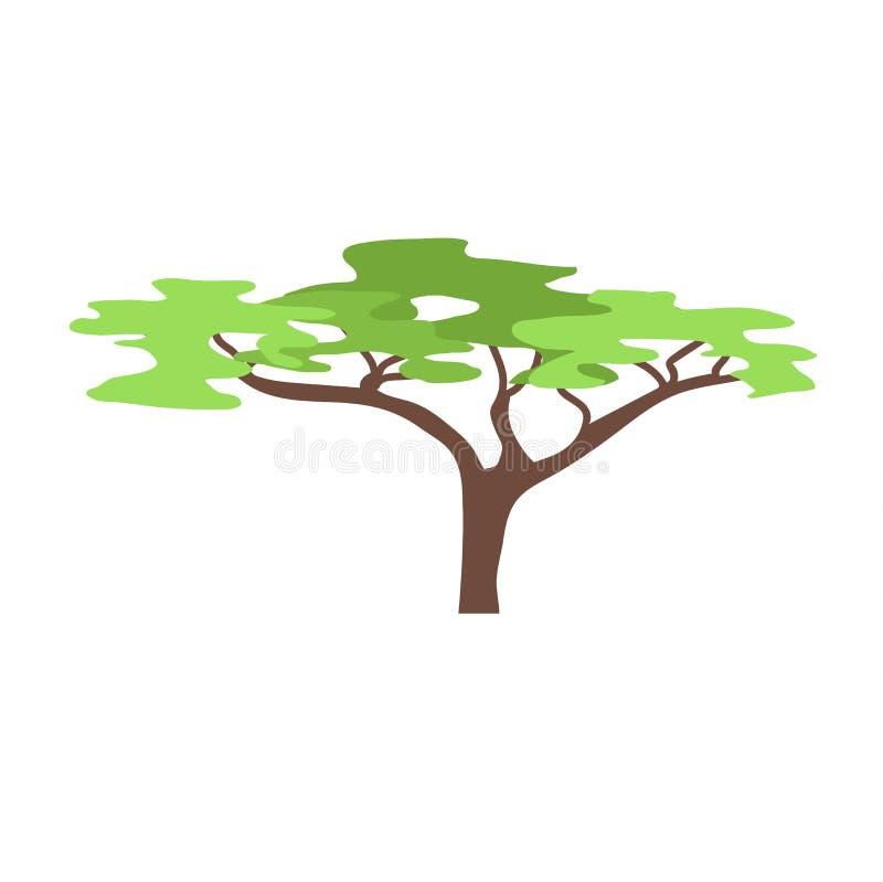 Árbol del baobab en el ejemplo blanco del vector stock de ilustración
