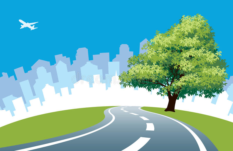 Árbol del borde de la carretera ilustración del vector