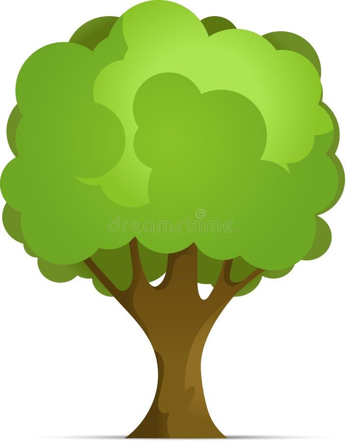 Árbol del bosque o del parque de la historieta con pendiente aislado en el fondo blanco Ejemplo del vector con la sombra stock de ilustración