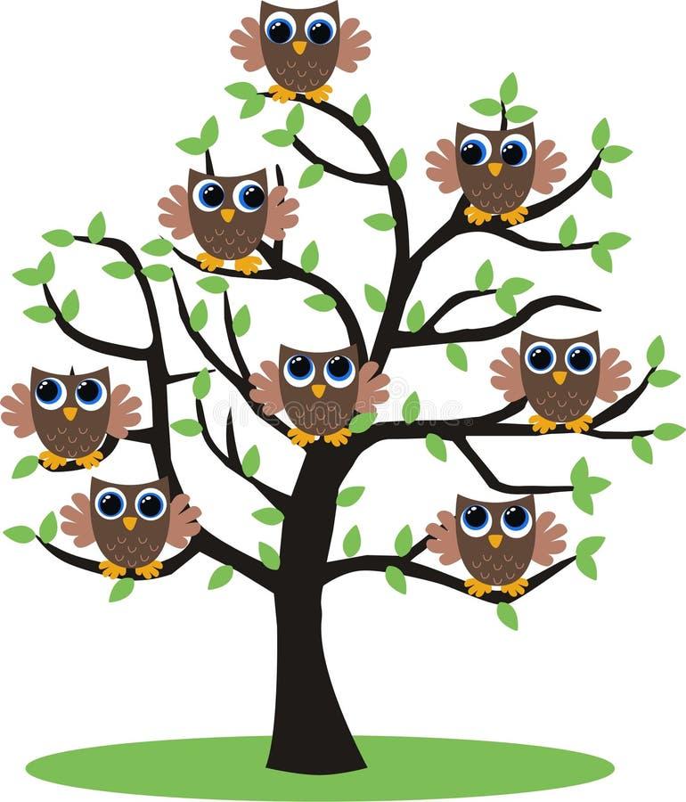 Árbol del buho stock de ilustración