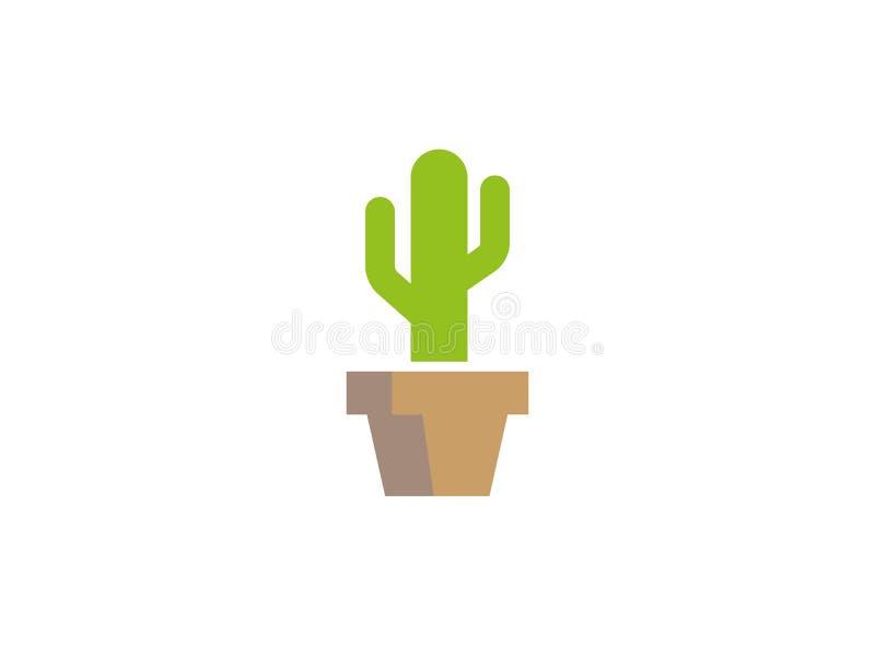 Árbol del cactus en el logotipo del florero del pote libre illustration