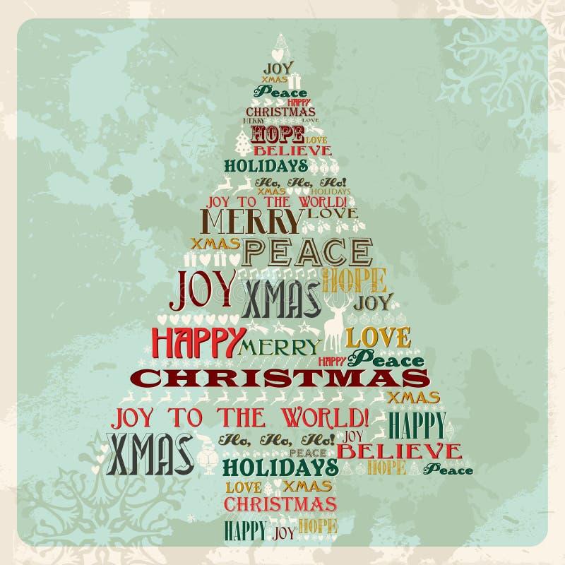 Árbol del concepto de la Feliz Navidad de la vendimia stock de ilustración