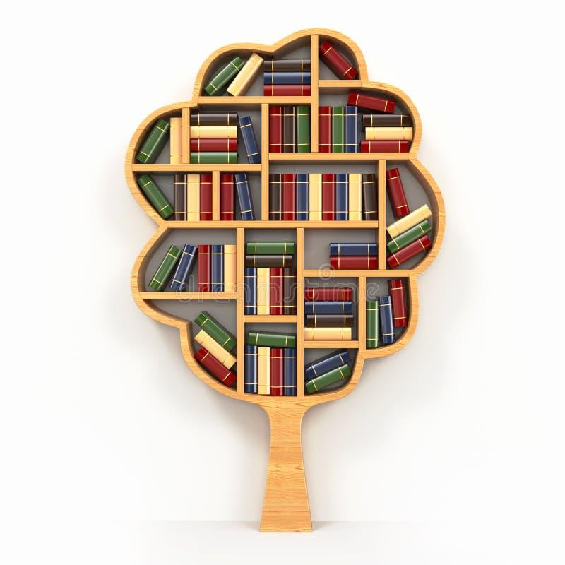 Árbol del conocimiento. Estante en el fondo blanco. libre illustration