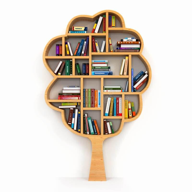 Árbol del conocimiento. Estante en el fondo blanco. stock de ilustración