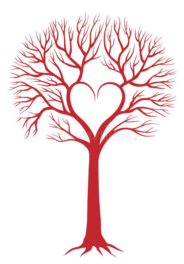 Árbol del corazón, fondo del vector stock de ilustración