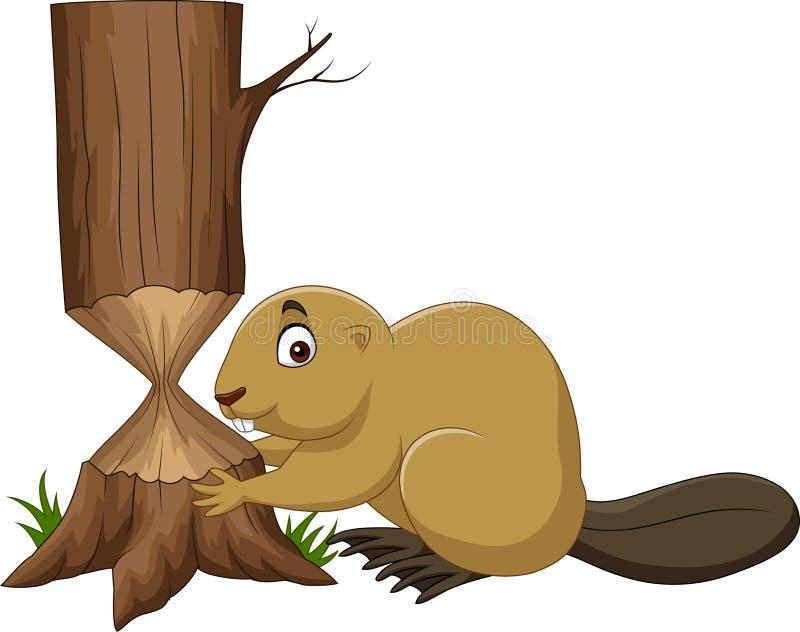 Árbol del corte del castor de la historieta ilustración del vector