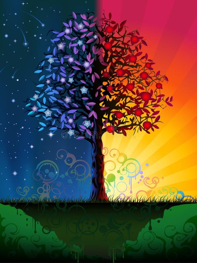 Árbol del día y de la noche ilustración del vector