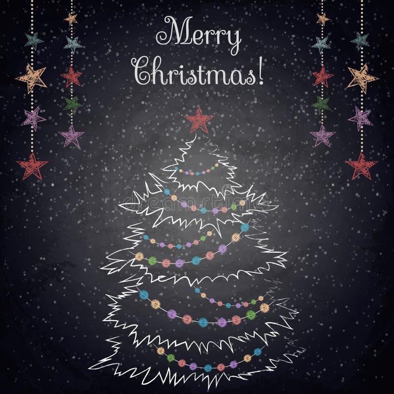 Árbol del dibujo de la Navidad en el fondo de la pizarra stock de ilustración