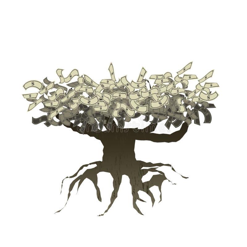 Árbol del dinero con la raíz aislada en blanco ilustración del vector