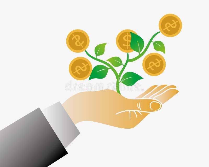 Árbol del dinero de su mano stock de ilustración