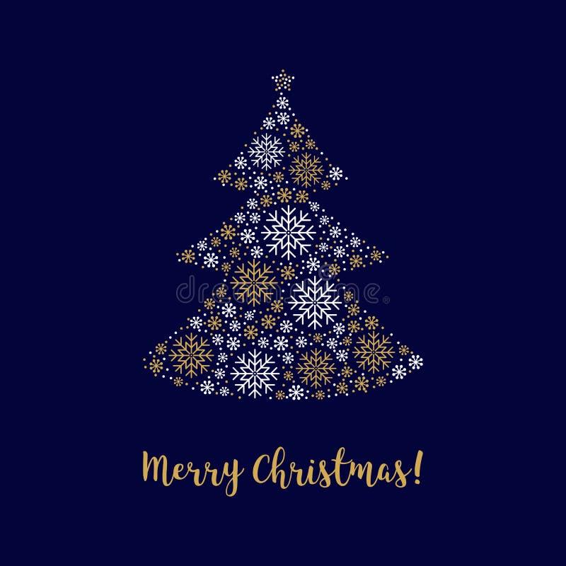 Árbol del extracto de la tarjeta de la Feliz Navidad hecho de identidad corporativa de los copos de nieve stock de ilustración