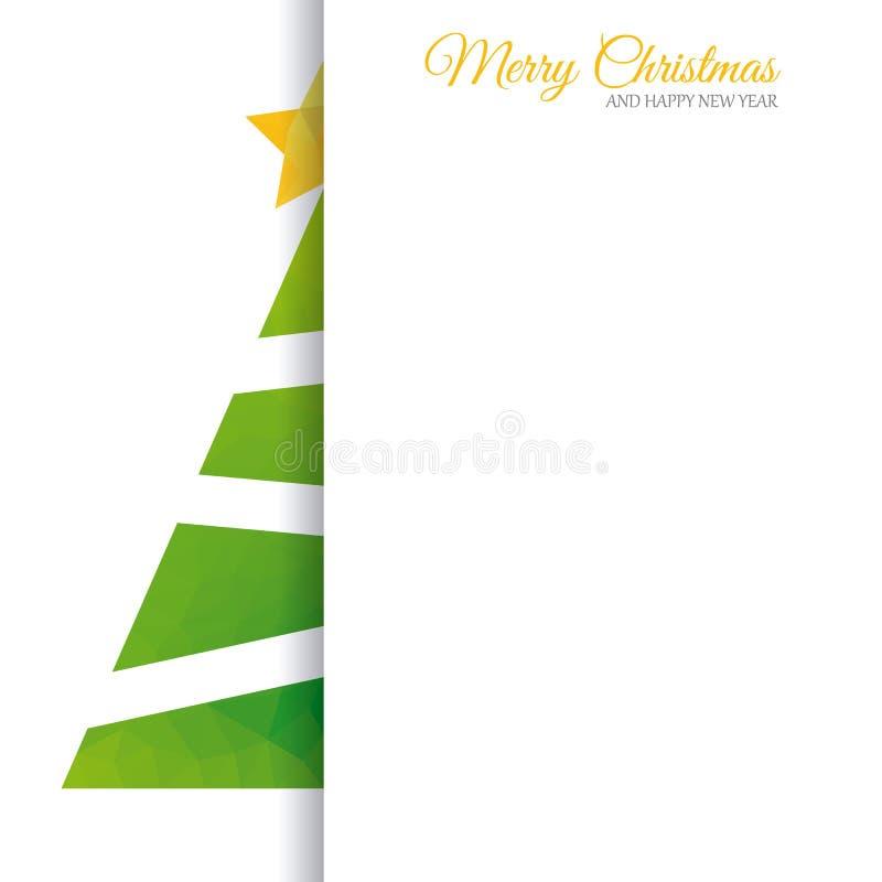 Árbol del extracto de la tarjeta de Navidad stock de ilustración