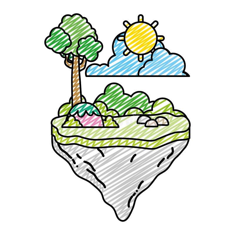 Árbol del garabato con la planta de los arbustos en la isla del flotador libre illustration
