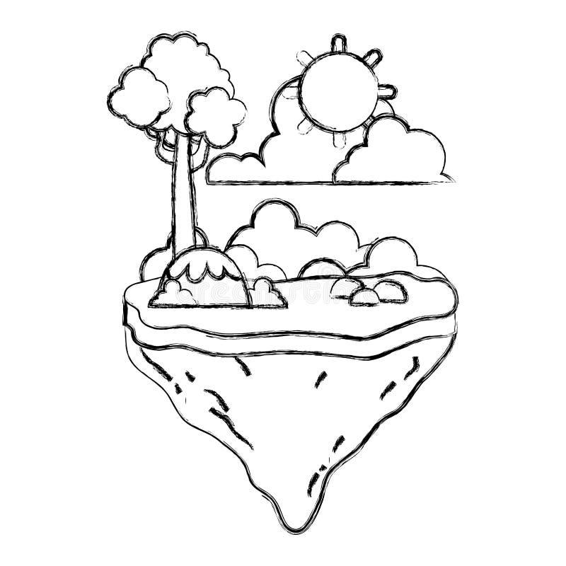 Árbol del Grunge con la planta de los arbustos en la isla del flotador ilustración del vector