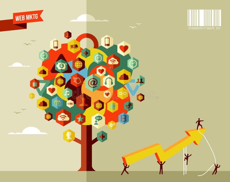 Árbol del icono del negocio del márketing ilustración del vector