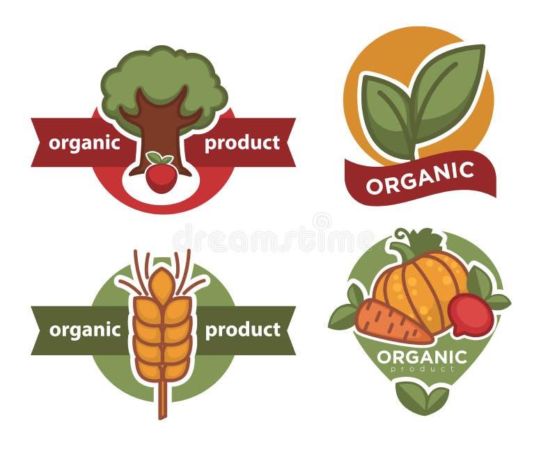 Árbol del icono y trigo y verduras aislados producto orgánico de la planta stock de ilustración