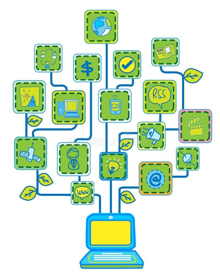 Árbol del Internet de la red stock de ilustración