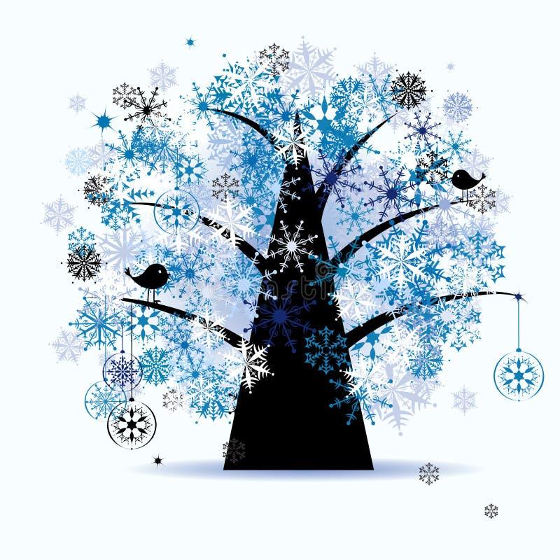 Árbol del invierno, copos de nieve. Día de fiesta de la Navidad. stock de ilustración