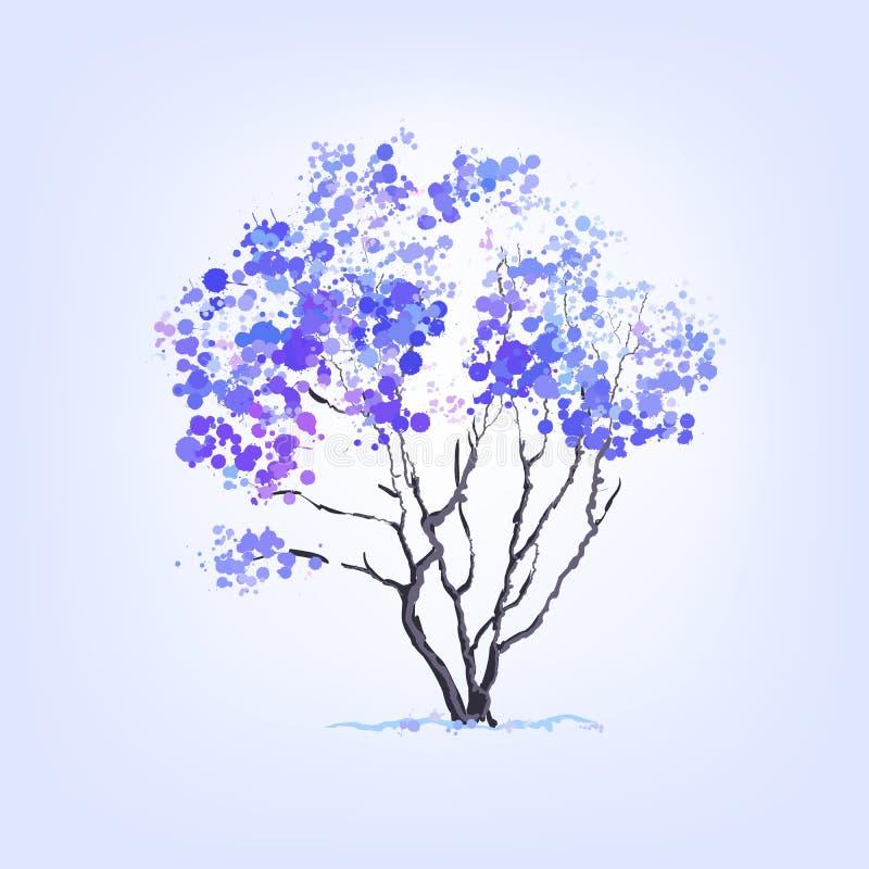 Árbol del invierno de manchas blancas /negras ilustración del vector