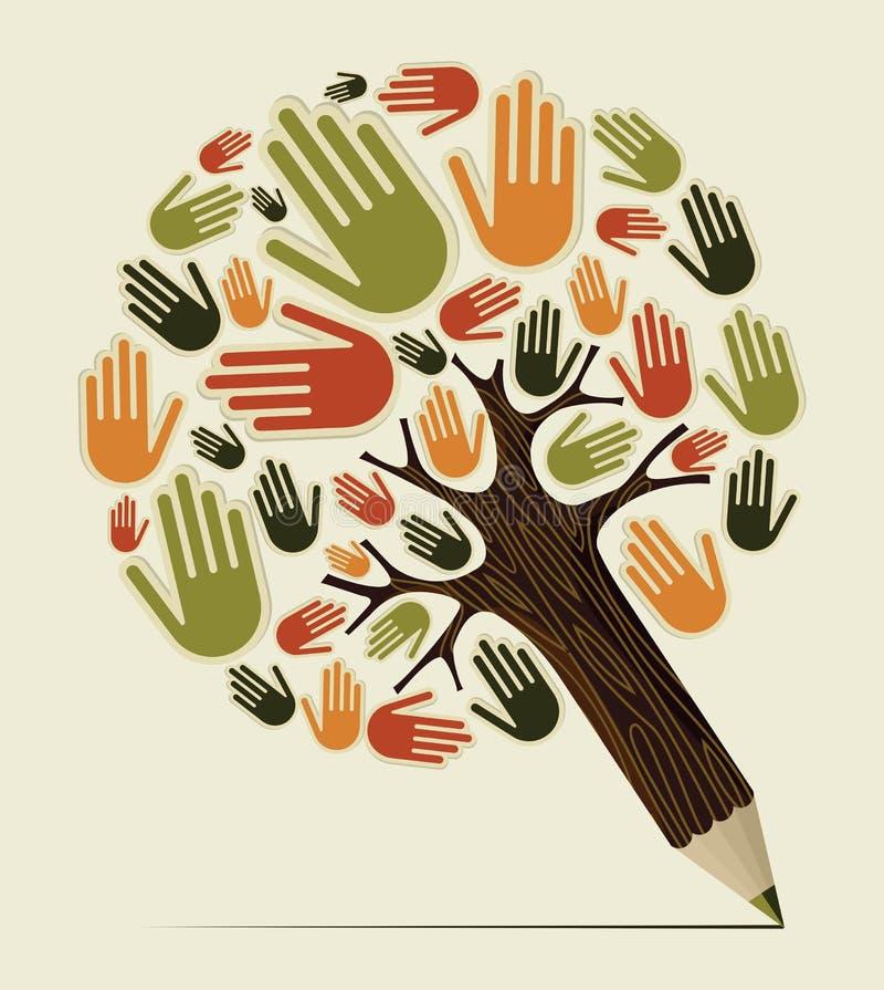 Árbol del lápiz del concepto de la mano de la diversidad stock de ilustración