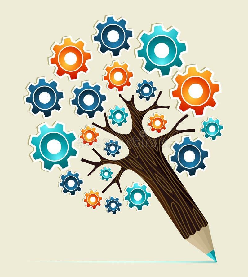 Árbol del lápiz del concepto de la rueda de engranaje stock de ilustración