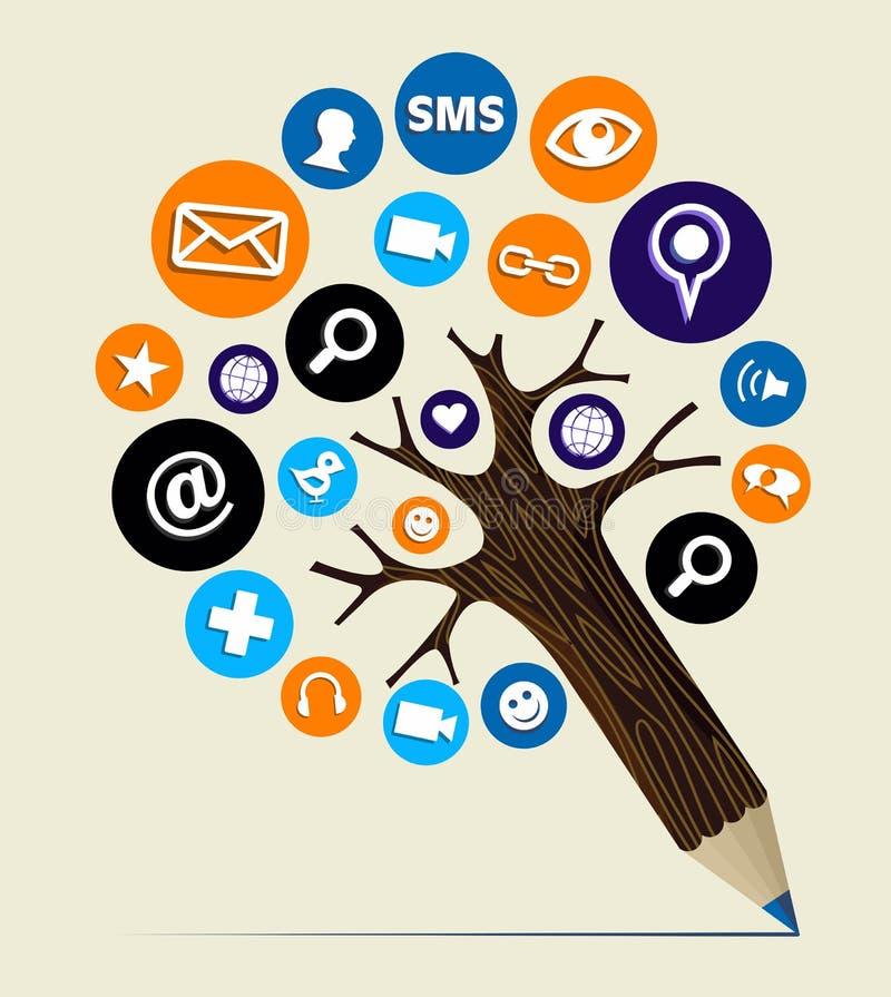Árbol del lápiz del concepto del Web del márketing stock de ilustración
