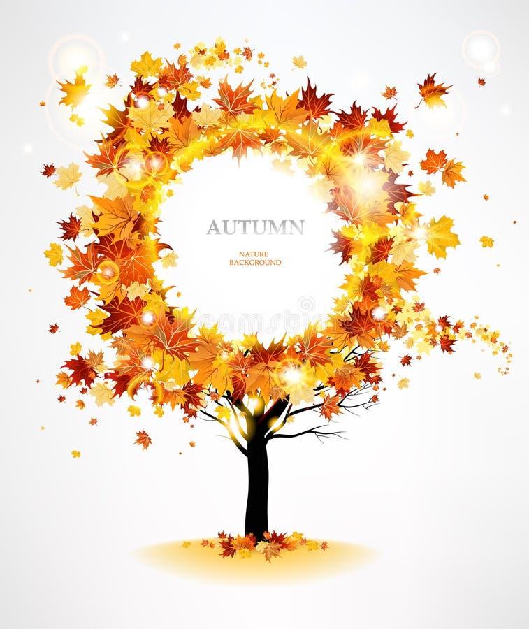 Árbol del otoño con las hojas hermosas del vuelo stock de ilustración