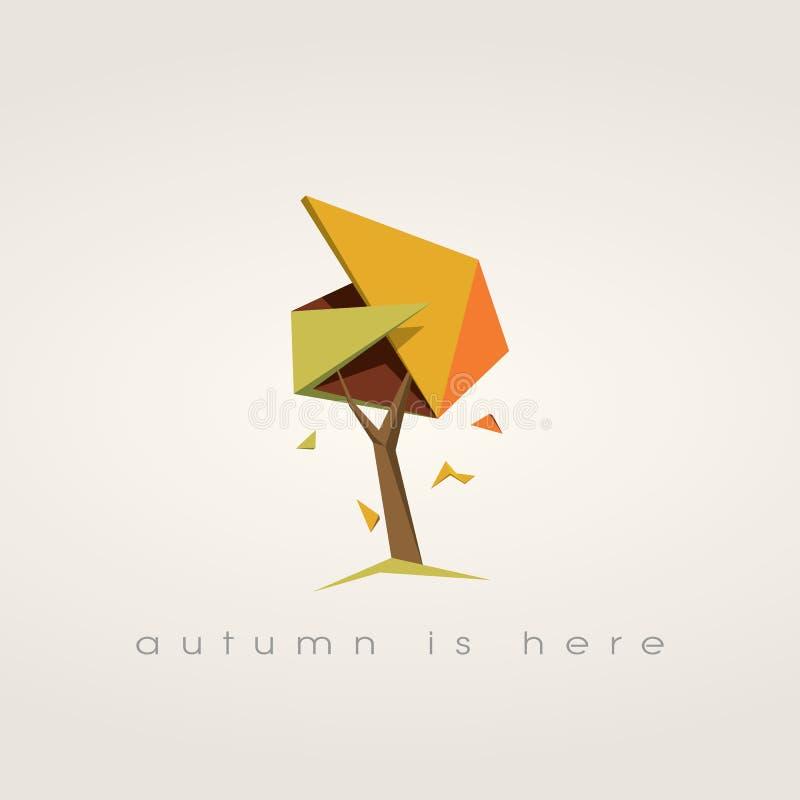 Árbol del otoño con las hojas que caen Vector polivinílico bajo stock de ilustración
