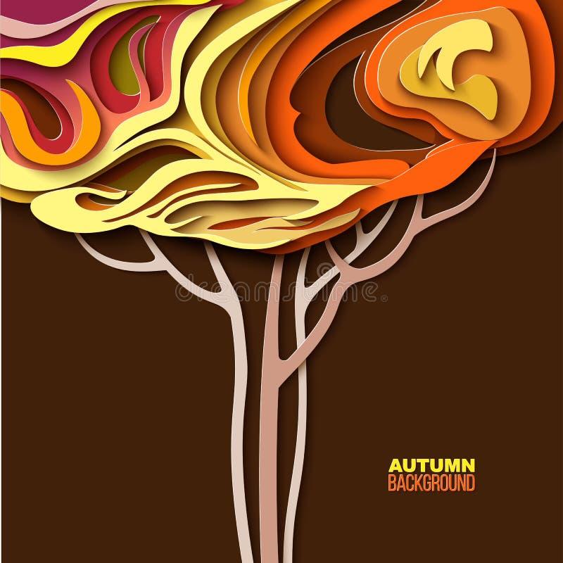 Árbol del otoño Diseño abstracto del corte del papel libre illustration