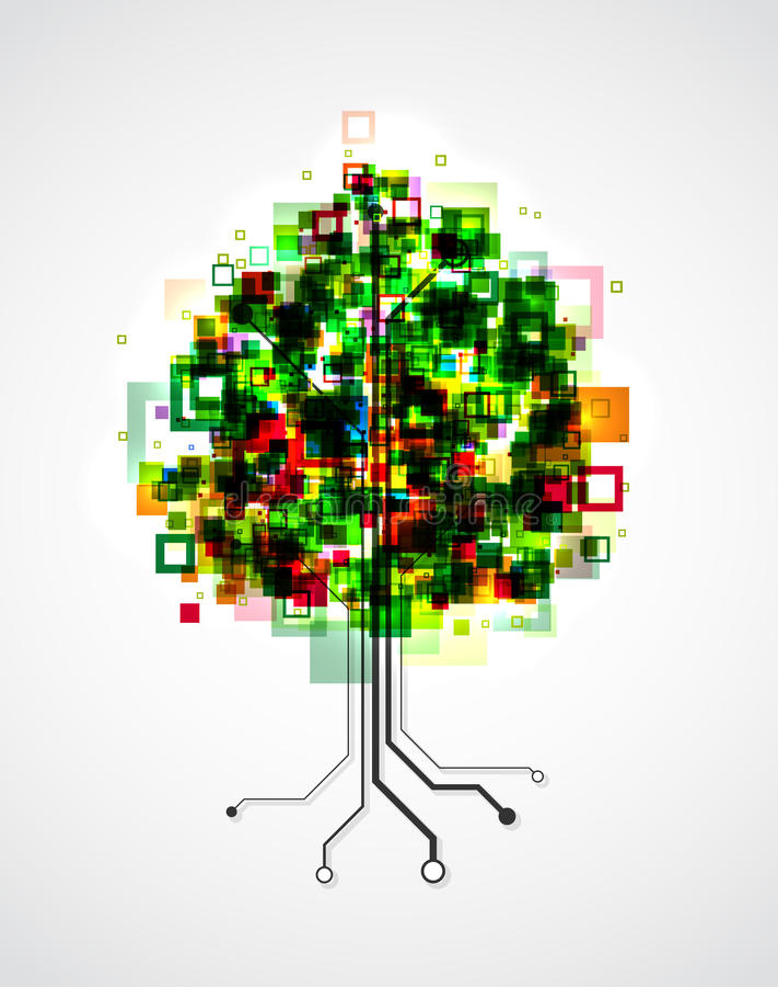 Árbol del pixel stock de ilustración