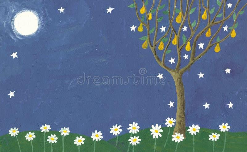 Árbol del prado y de pera en la noche stock de ilustración