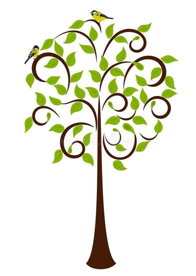 Árbol del resorte con los pájaros stock de ilustración