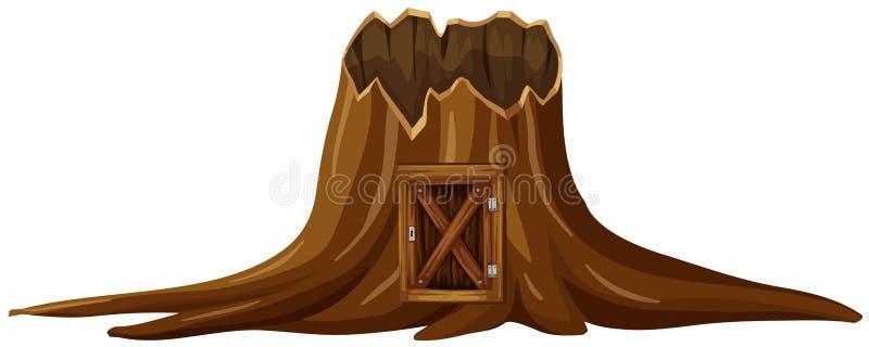 Árbol del tocón con la puerta de madera stock de ilustración